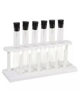 6 Piece Borosilicate Glass Test Tube Set With Rubber Caps And Rack Stand