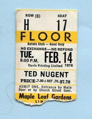 1978 Ted Nugent Concert Ticket Stub Toronto Canada Cat Scratch Fever