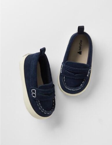 GAP Baby Boys NWT Size 0-3 Months Navy Blue Slip-on Loafers Shoes ...