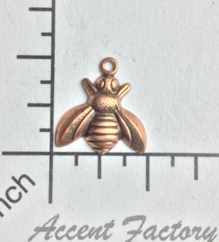 34115        4 Pc Copper Oxidized Small Honey Bee Jewelry Finding Charm