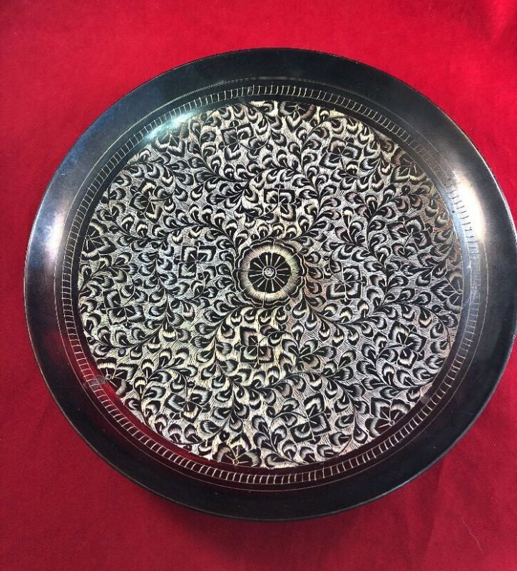 Vintage Metal Flower & Leaves Hand Etched Plate Bowl Brown Gold