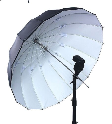 "51"" Black White Umbrella Camera Flash Reflect 16 Panel Fiberglass Rib Rubberized"