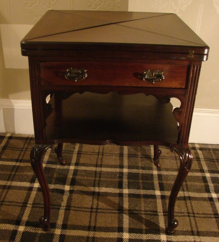 Antique Edwardian Fold Over Card Table (Free delivery England)