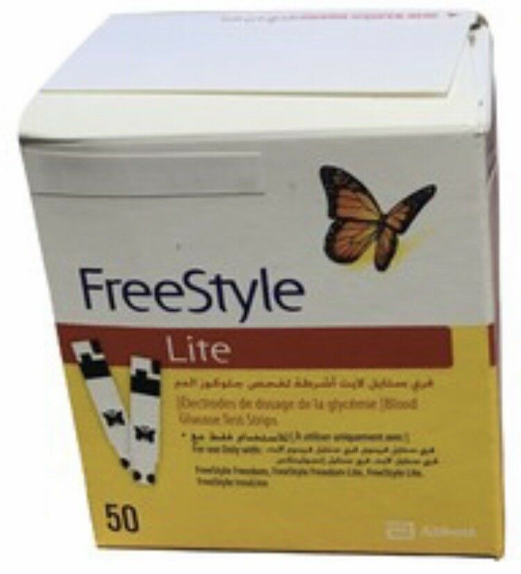 FreeStyle Lite Blood Glucose Test Strips, 50 count Exp: 2020