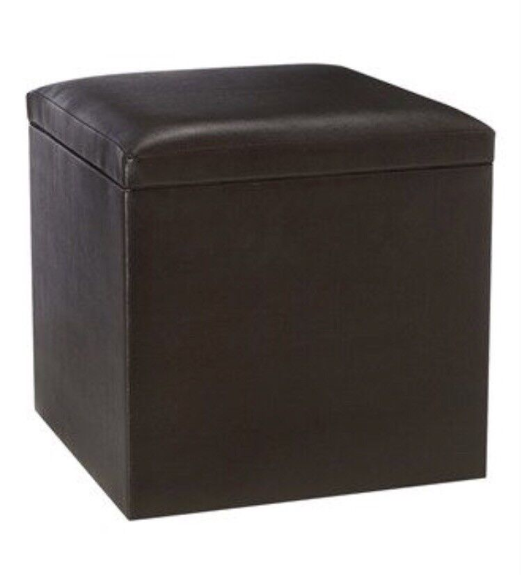Brown Faux Leather Storage Stool