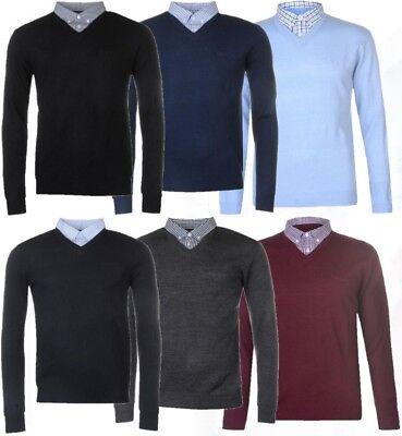 Stricken Hemd (✅ 👌 PIERRE CARDIN Herren Strick Pullover Hemd Kragen V Ausschnitt Einteilig NEU)
