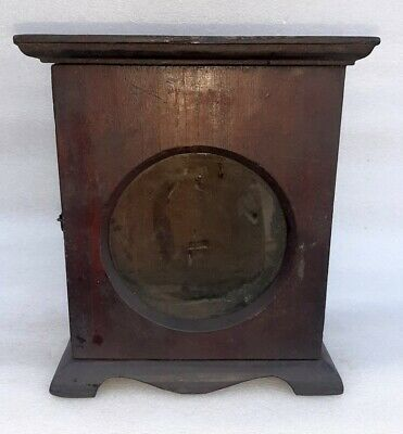 Antique Old Wooden Hand Crafted Brown Painted Wall Hanging Alarm Clock Case Box