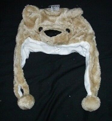 Brown Bear Stuffed Animal Fluffy Plush Earmuff Beanie Hat Ca