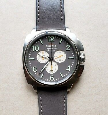 Shinola Brakeman Watch With 46mm Brown Chronograph Face & Brown Leather Band