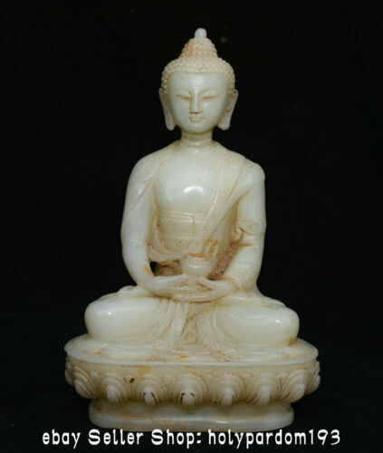 "8"" Collect Antique Chinese White Jade Carving Shakyamuni Amitabha Buddha Statue"
