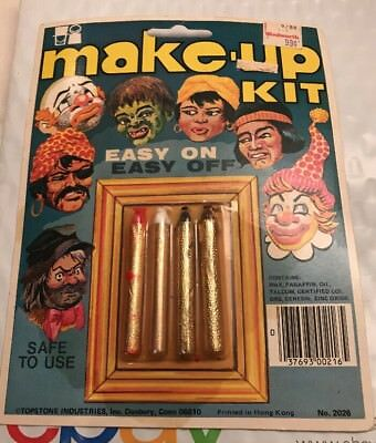 Rare Vintage NOS Topstone Halloween Make-Up  Kit New On Card Easy On Easy Off