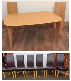 Modern Beech Extending Table & 6 Brown Leather Chairs FREE DELIVERY 459