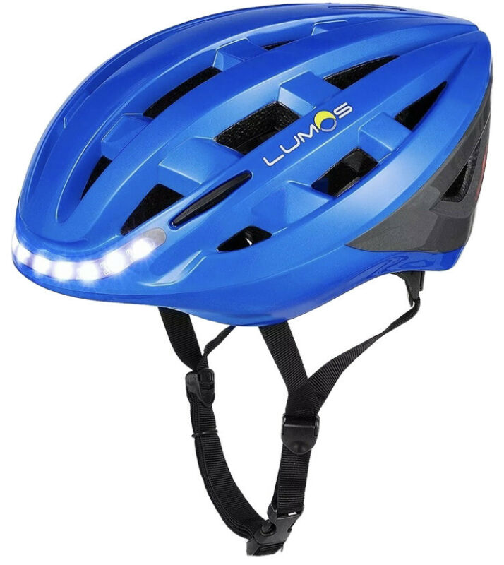 LUMOS Kickstart Lite Chromium Blue Bicycle Safety Helmet with Lights 54-61cm