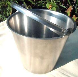 Set of three stainless steel buckets