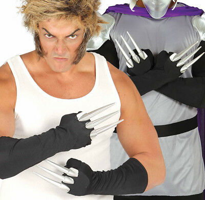 Wolverine Style Black Gloves with Claws Adult Fancy Dress Costume Shredder - Wolverine Costume Claws Adults