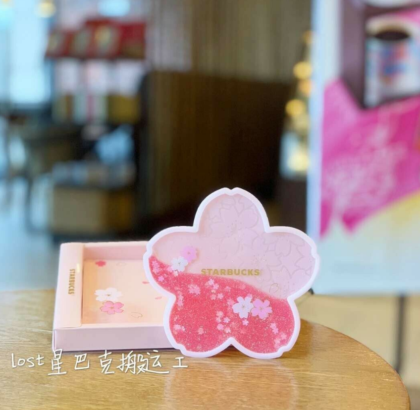 China Starbucks Romantic Pink Sakura Water Coaster Coffee cup pad 2020 HOT