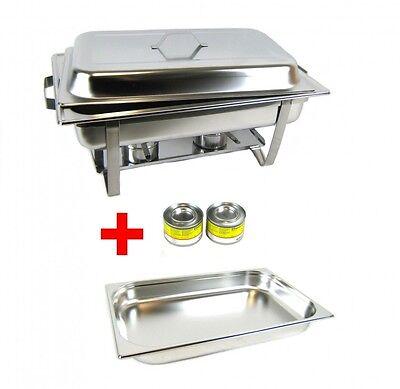 Chafing Dish Speisenwärmer Warmhaltebehälter aus Edelstahl + Brennpaste