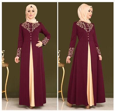 Arab Print Abaya Dress Women Baju Muslim Gamis Vintage Long Sleeve Robe higab