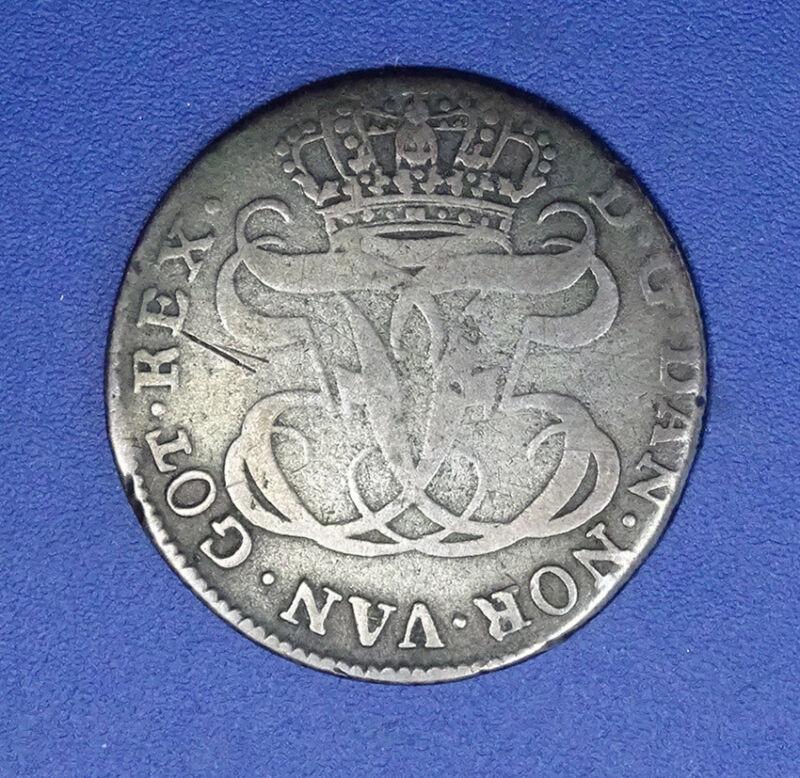 1764 Danske Americansk DANISH WEST INDIES 12 Skilling SILVER Colonial Coin