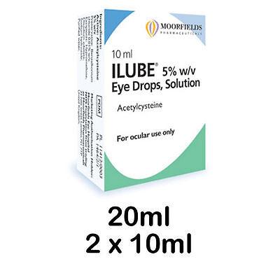 Moorfields Ilube eye drops solution 20ml (2 x 10ml) Free post