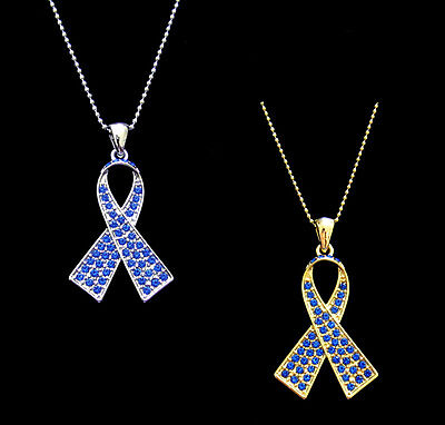 Crystal Blue Ribbon Bow Colon Cancer Awareness Pendant Charm Necklace