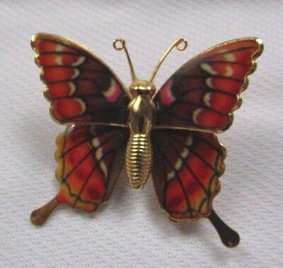 Enamel Butterfly Pin - COSTUME JEWELRY GOLD TONE ENAMELED  BUTTERFLY BROOCH PIN