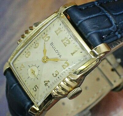 🔥Vintage mens 1953 Bulova EPIC BLUE BAND Tuxedo Dial ORIGINAL Deco Tank Watch Tank Silver Dial
