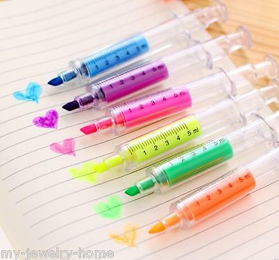 Cute Syringe Highlighters Pen Marker Needle Ball Point Nurse Hospital Doctor