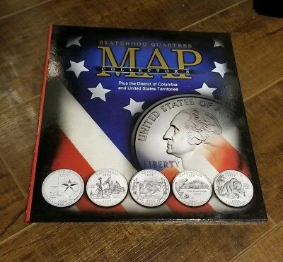 (Whitman Complete 56 coin State & Territory Quarter Map Album Quarters)