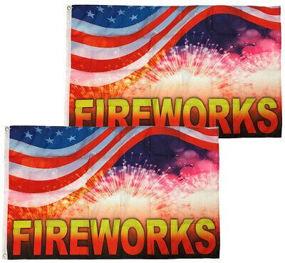 3x5 Ft Fireworks Flag Sign Banner Rb - 2 Pack
