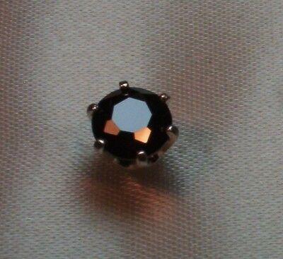 1.25 CT PLUS ROUND BLACK DIAMOND MENS SILVER TIE TACK PIN SIMULATED STONE