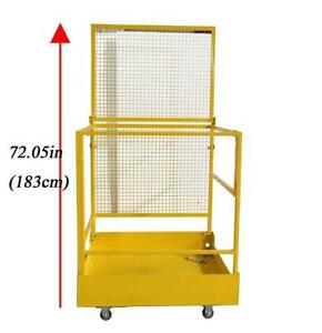 Forklift Safety Cage Work Platform Yellow Lift Basket Aerial Fence Rails 2 man (022404)