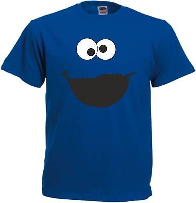 Blaues Monster Herren T Shirt für Krümmelmonster Fans Karnevalkostüm - Herren Blaue Monster Kostüm
