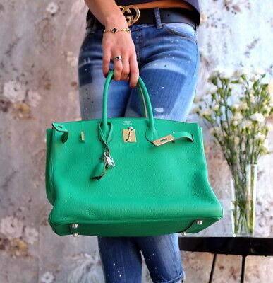 HERMES Birkin 35cm Green 2012 P palladium hardware Veau Togo clemence bag purse