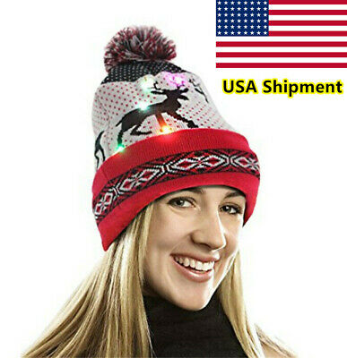 Christmas Hats With Lights (Unisex LED Hat Beanie Knit Cap Winter Warm Christmas Gifts Colorful Lights)