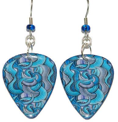 Royal Blue Swirl (ROYAL BLUE SWIRL GUITAR PICK DANGLE EARRINGS (GP026))
