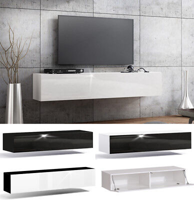 TV Lowboard Hängeboard ACRYL HOCHGLANZ Board 18mm MDF Schrank weiß schwarz 160cm