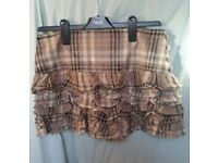 New look skirt 14 years tartan short mini checked brown beige teen size 8 s small
