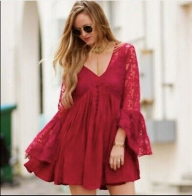 Free People With Love From India Fuchsia Pink Dress Lace Bell Sleeve Boho MEDIUM
