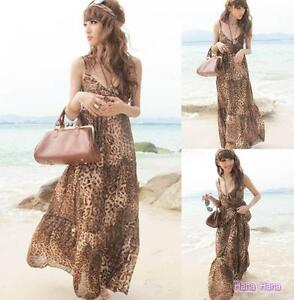 Brown New 70s Ladies Boho Bohemian Leopard Halter Neck Maxi Dress