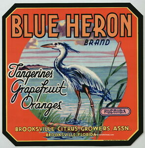 BLUE-HERON-Vintage-Brooksville-Florida-Citrus-Crate-Label-Bird-AN-ORIGINAL-LABEL