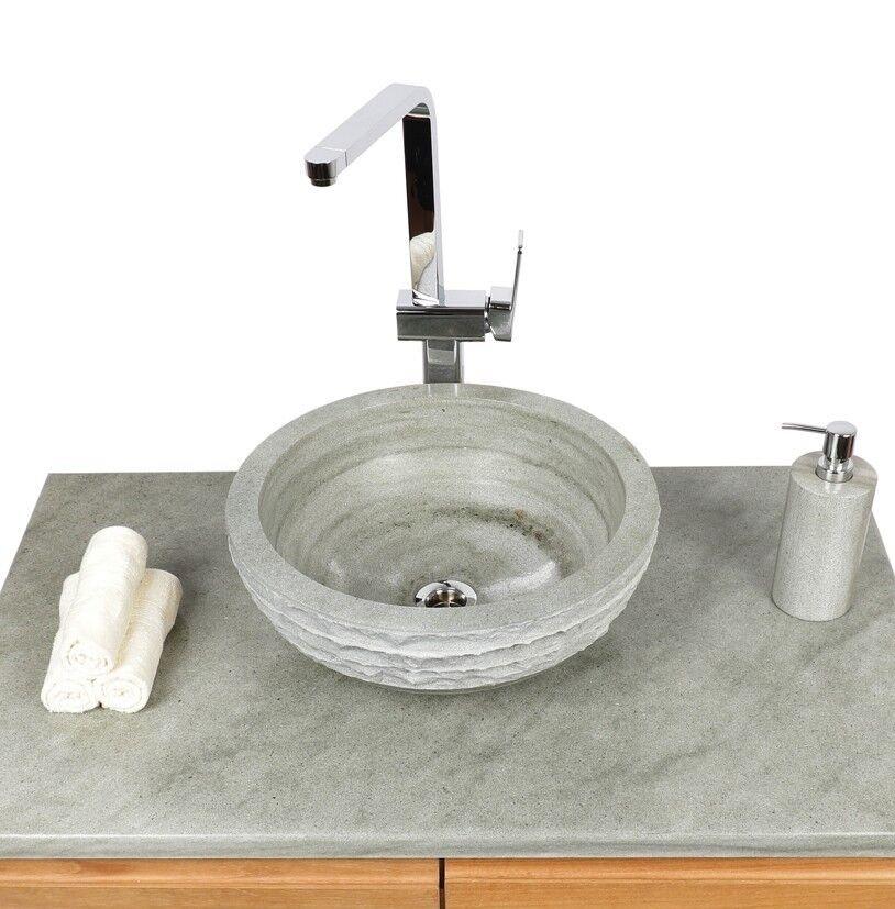 Sandstein Aufsatz-Waschbecken 30 cm rund grau Hand-Waschbecken Naturstein
