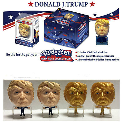 GOLD Donald Trump SqueezeEz Big Head Collectible Stress Ball toy figure