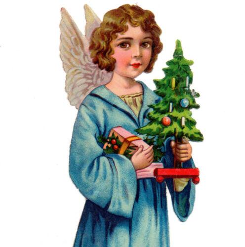 LARGE! Antique Vintage ANGEL IN BLUE ROBE, XMAS TREE - Die cut paper scrap 1930s
