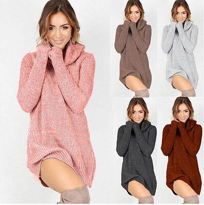 Womens Dressing - 2019 Womens Cowl Neck Loose Long Sleeve Oversize Sweater Jumper Shirt Tops Dress