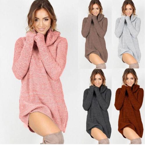 Womens Cowl Neck Loose Long Sleeve Oversize Sweater Jumper Shirt Tops Dress US