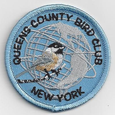 "Queens County Bird Club patch - NYC New York City Unisphere, iron-on, 2.5"""