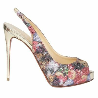 56505 auth CHRISTIAN LOUBOUTIN Floral Glitter NO PRIVE 120 Slingbacks Shoes 37.5