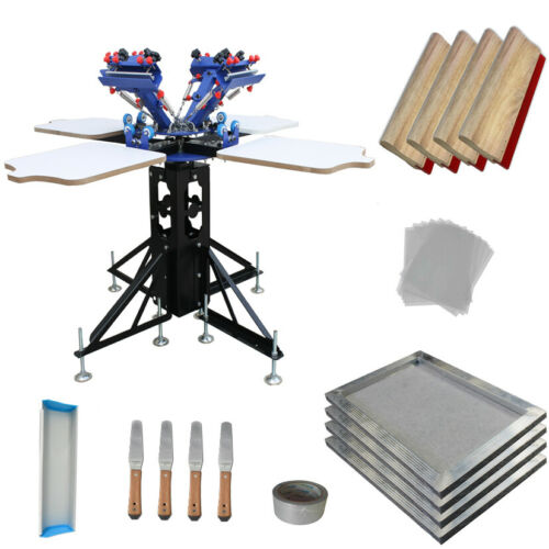 TECHTONGDA 4 Color 4 Station Screen Printing Kit Press with Printing Supplies