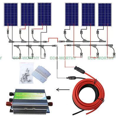 600W Complete Kit  6 X100w 12Volt Pv Solar Panel For 24V Home Boat Solar Sytem